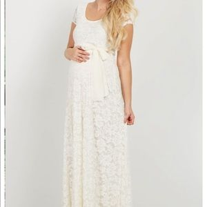 Ivory Lace Sash Tie Maternity gown